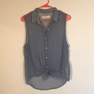 Sheer blue stripes sleeveless blouse